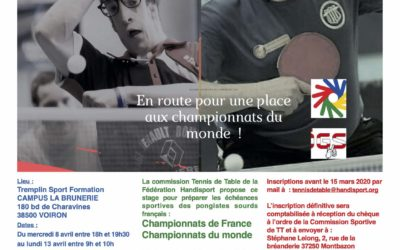 Stage National Sourds – préparation Championnat de France/Monde – Reporté !